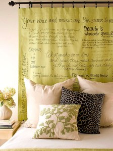 DIY-headboard-design-using-fabric-and-quotes