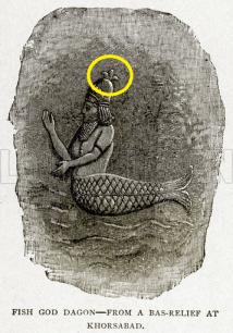 Fish God Dagon and the fleur de lis