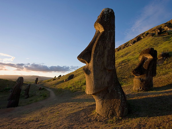 Giant monolithic stone Moai statues at Rano Raraku, Rapa Nui (Easter Island), UNESCO World Heritage Site, Chile, South America